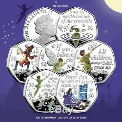 2019 Iom Peter Pan 50p Fifty Pence Unc Couleur Coins Decal Et Ensembles Autocollants