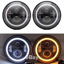 2pcs Rgb Halo Drl Clignotants Led Projecteur Head Lights Brouillard Lamps Fit Wrangler
