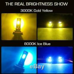 2x 9006 Hb4 Led Fog Ampoules Jaune Ambre & Ice Blue Dual Color Flash