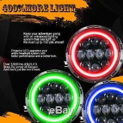 2x Rgb Halo Ring 7 7inch Bluetooth App 60w Led Pour Jeep Wrangler Projecteurs Jk