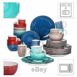 32pc Dîner Set Assiettes Tasses Bols En Céramique Multi Couleur Vaisselle Salle À Dîner Pour 8