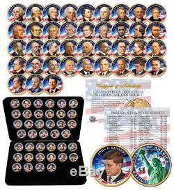 39 Pièces Ensemble Complet Presidentiel 1 Dollar Us $ Entièrement Colorisé 2 Côtés Avec Boîte