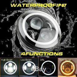 4pcs Rgb Halo Drl Turn Led Signal Projecteur Phares Antibrouillards + Fit Wrangler