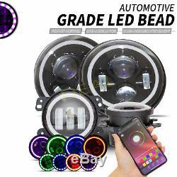 4pcs Rvb Halo Drl Clignotants Led Projecteur Head Lights + Lampes De Brouillard Fit Wrangler