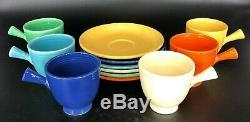 (6) Century Vintage MID Fiesta Ware Demitasse Cup & Saucer Sets Couleurs Complètes
