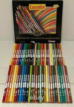 60 Laurentien Colored Pencil Crayon Box Set Complete High Number Unsharpened Nouveau