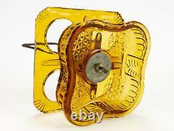Adams Ashman Amber Castor Set, Antique Eapg Complete, Heavy Paneled Fine Cut