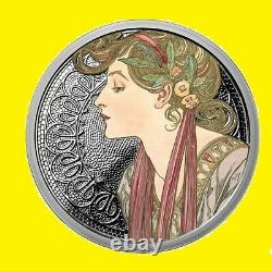 Alphonse Mucha Complet Coloré 6 Jeu De Pièces 6 Oz 999 Silver Coa, Pop 2000