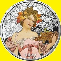 Alphonse Mucha Complet Colorisé 6 Ensemble De Pièces De Monnaie 6 Oz 999 Silver Coa, Pop 2000