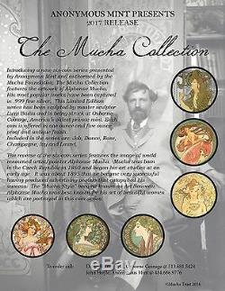 Alphonse Mucha Complete Set Of 6 1 Oz Argent Colorisation Coins Job-dance-rose-lierre