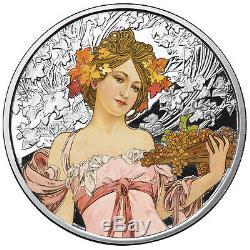 Alphonse Mucha Ensemble Complet De 6 Pièces D'argent Colorisées De 1 Oz Job-dance-rose-ivy