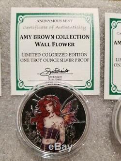Amy Brown Colorisé 1 Oz. Collection Complète D'argent 999 Ensemble Complet De 6 Reines Féeriques
