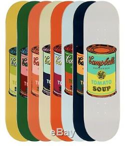 Andy Warhol Planche À Roulettes De Boîtes De Soupe Campbell Rare Couleur Complète Le Ensemble De 8