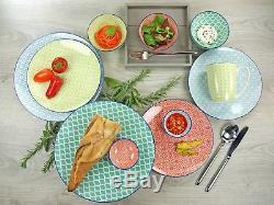 Assiettes À Dîner En Grès Rustique 16 Assiettes De Bols De Cuisine Multi-couleurs