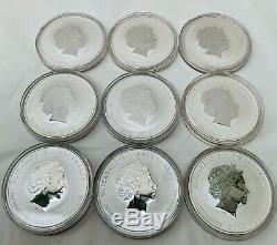 Australian Lunar Series II Argent 9 X 1oz Couleur Dragon Coins Set Complet De 9