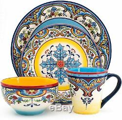 Belle Vaisselle 16 Pièces Vaisselle Pour 4 Personnes Floral Coloré De Fête Bohême