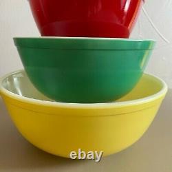 Bols De Mélange Pyrex Vintage En Couleurs Primaires Ensemble Complet Nesting Bowls 401-404