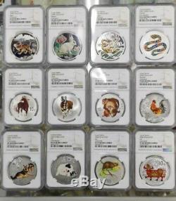 Chine 1998-2009 Ensemble Complet De 12 Pièces De Couleur Silver Coins Année Lunaire Chinoise