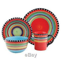 Coloré Rayé Vaisselle Service Set Pour 4 Stoneware 16 Vaisselle Piece Cuisine
