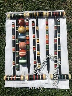 Colorful Vintage Complete 9 Wicket Croquet Ensemble