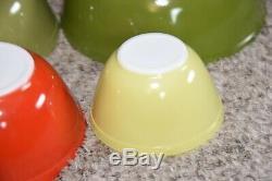 Complet Set 4 Vintage Verre Pyrex Couleurs Saladiers Excellent