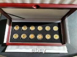 Complete Gold Lunar Series 1 Set 1/10 Oz 3 De 12 Pièces Colorées