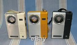 Complete Set 3 Panasonic Rf-511 Transistor Radiosall Couleurs Boxed Nm Et De Travail