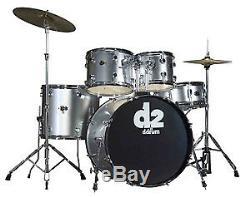 Ddrum D2 Bs Débutant Complet 5pc Drum Set Avec Des Stands En Argent Brossé Couleur Nouveau