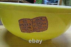 Ensemble Complet 4 Couleurs Primaires Pyrex Vintage Mélangeant Bols De Nidification Avec Boîte D'étiquettes