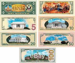 Ensemble Complet De 7 Billets De Banque Us Colorisés À 2 Us $. 1 $ / 2 $ / 5 $ / 10 $ / 20 $ / 50 $ / 100 $