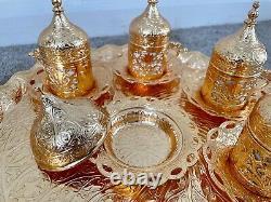 Ensemble Complet De Service Pour 6-luxe Set Pour Espresso, Couleur D'or Du Café Turc