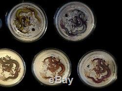 Ensemble Complet Perth Dragon Colorisation Gilt Série (10) 1 Oz Ensemble Silver Pièces