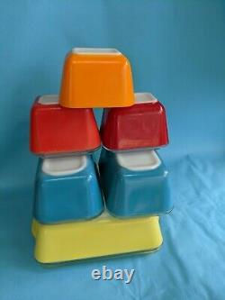 Ensemble Complet Pyrex Réfrigérateur Dissonnées Couleur Primaire 501 502 503 Yellow Blue Rouge