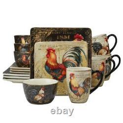 Ensemble De Soupers Traditionnels En Céramique Multi-couleur 16 Piece De Coq Gilded Pour 4