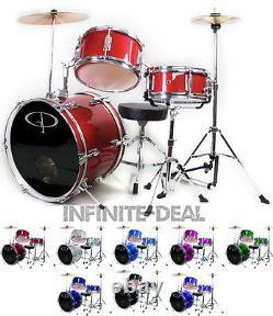 Gp Percussion Complet 3 Pièces Junior Drum Set Choisissez Votre Couleur Noir Rouge Vert