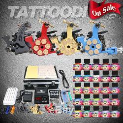 Gun Tatouage Professionnel Kit Complet 4 Power Machines D'alimentation Set 25 Encres Couleur