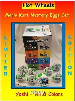 Hot Wheels Mario Kart Yoshi Mystery Egg Ensemble Complet Toutes Les Couleurs Nouvelles