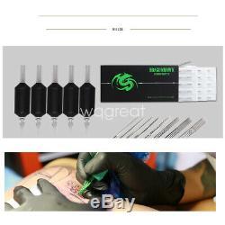 Kit Complet Tattoo 4 Alimentation Machine D'alimentation Pistolet D'encre Couleur Set Aiguilles D176gd W