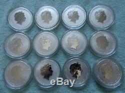 Lunar II Australien D'argent Colorié De 2008 À 2019, 1/2 Oz (ensemble Complet De 12 Pièces)