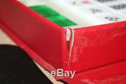 Mahjong Set 144 Pcs Triple Couche Tri-color Lucite Complète Euc Vintage