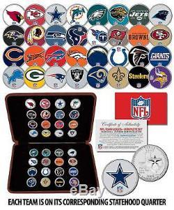 NFL Équipe Logos Complet Colorisation 32 Ensemble De Pièces Statehood Quarters Withdisplay Box
