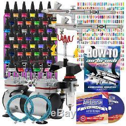 Nail Art Complet Airbrush Kit 48 Couleurs 480 Pochoirs Set Avec Compresseur