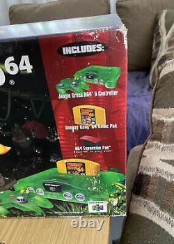 Nintendo 64 N64 Donkey Kong Funtastic Green System Set Complete Avec Box
