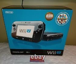 Nintendo Wii U 32 Go Console Noire Deluxe Set Complet Excellent État