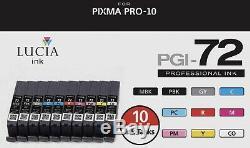 Nouveau Véritable Canon Lucia Pgi-72 Complet Ensemble Complet 10 Encres Couleur Pour Pro-10 Oem