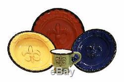 Peints À La Main De Vaisselle Toscane Vaisselles Assiettes Colorés 16 Bols Pc Fleur De