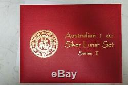 Perth Mint Lunar Series Ii, 1 Oz D'argent Colorisé Ensemble Complet Coin 2008-2019
