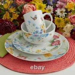 Pfaltzgraff 32 Piece Colorful Butterfly Garden Dinnerware Set Service Pour 8 Nouveau