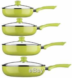 Poêle À Frire Ecocook Avec Couvercle En Verre 24 26 28 30 CM Non Stick Vert Citron