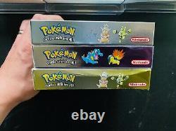 Pokemon Gold Silver Crystal Trilogie Nintendo Gameboy Color Cib Complet